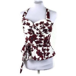 WHBM Floral Pin Up Style Top